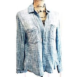 Cloth & Stone Anthropologie Top Button Up Blue XS